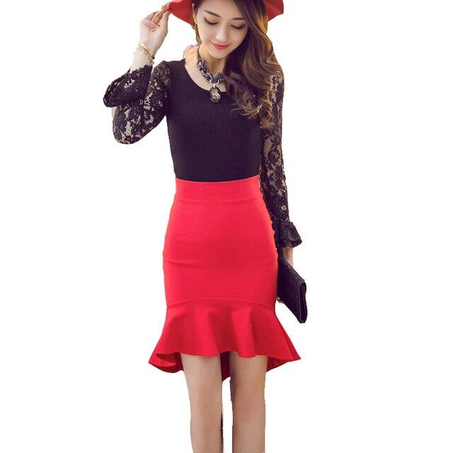 cb8505b8b9 Plus Size Asymmetrical Skirt Black Red Mermaid Skirt Autumn High Low Skirts  Womens