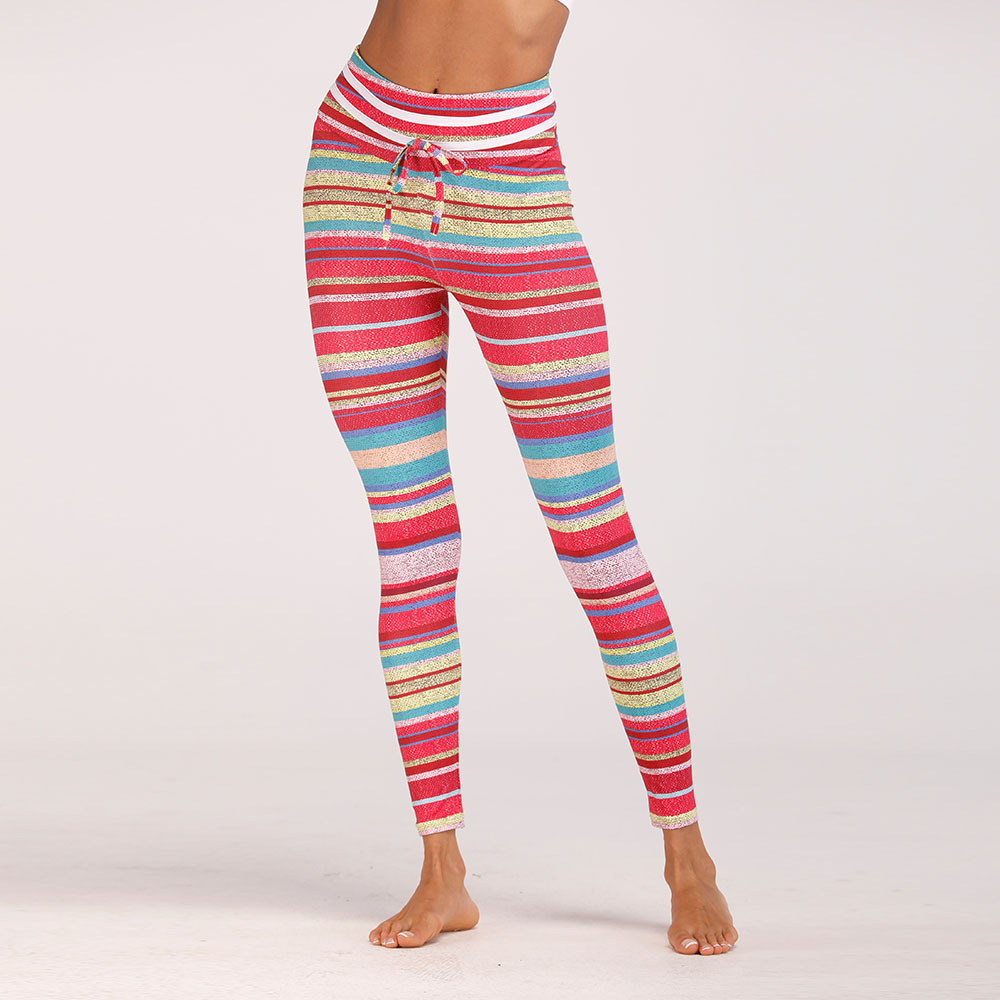Zmvkgsoa 2018 Compress Women Sporting Fitness Workout Legging Pants All Season Gradient Striped Printed Gymming Leggings Y2755