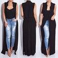 2016 nueva moda sin mangas trench balck gasa plumero para mujeres mujer abrigo outwear causal túnica larga puede ser vestido sexy