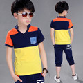 Boys' Summer Children  T-shirt+pants Suit Children Clothing Sets New Cotton Two Set Sports Suits 5-14 Ages Free Shipping