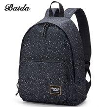 BAIDA Brand Canvas Printing Black Backpack Women School Bags for Teenage Girls Star Rucksack Vintage Laptop