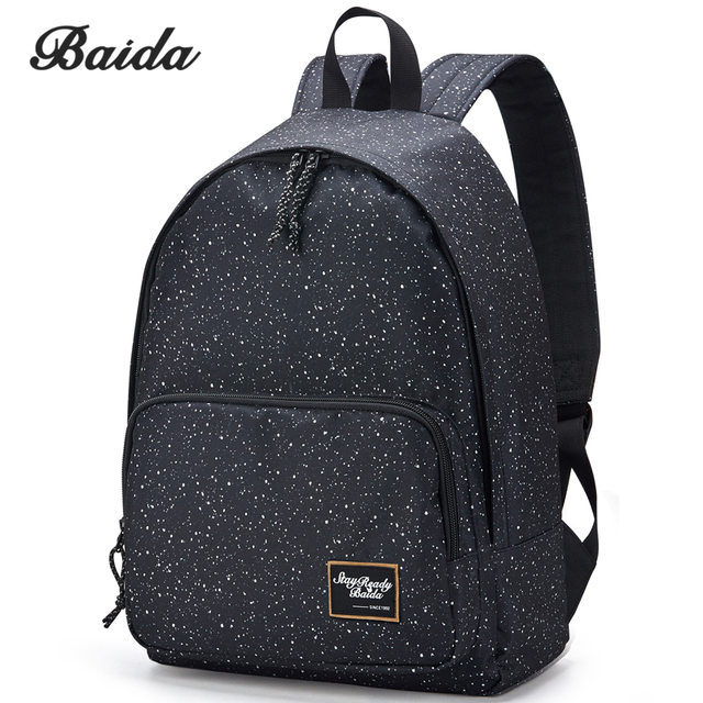 d7cfa0eadb7c BAIDA Brand Canvas Printing Black Backpack Women School Bags for Teenage  Girls Star Rucksack Vintage Laptop Backpacks
