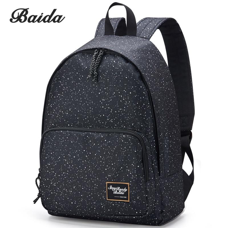 BAIDA Brand Canvas Printing Black font b Backpack b font Women School Bags for Teenage Girls