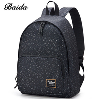 BAIDA Brand Canvas Printing Black Backpack Women School Bags For Teenage Girls Star Rucksack Vintage Laptop