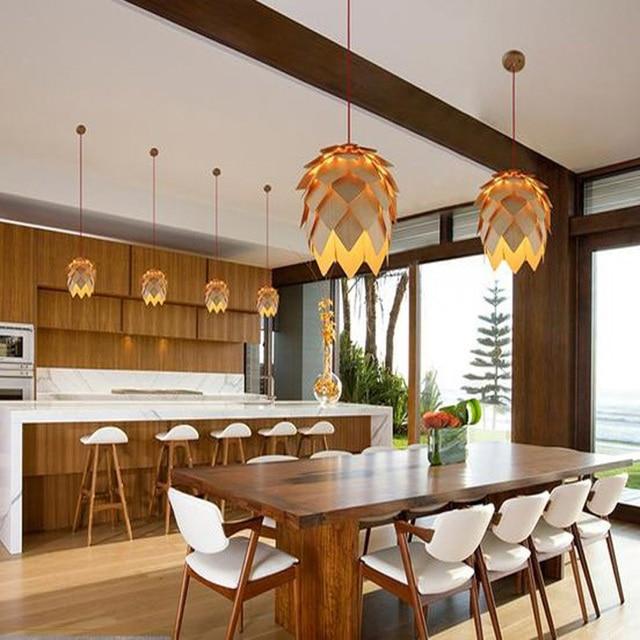 Modern Art Wooden Pinecone Pendant Lights Home Restaurant Hanging Pine Cone Wood Lamps Decorative Light Fixtures