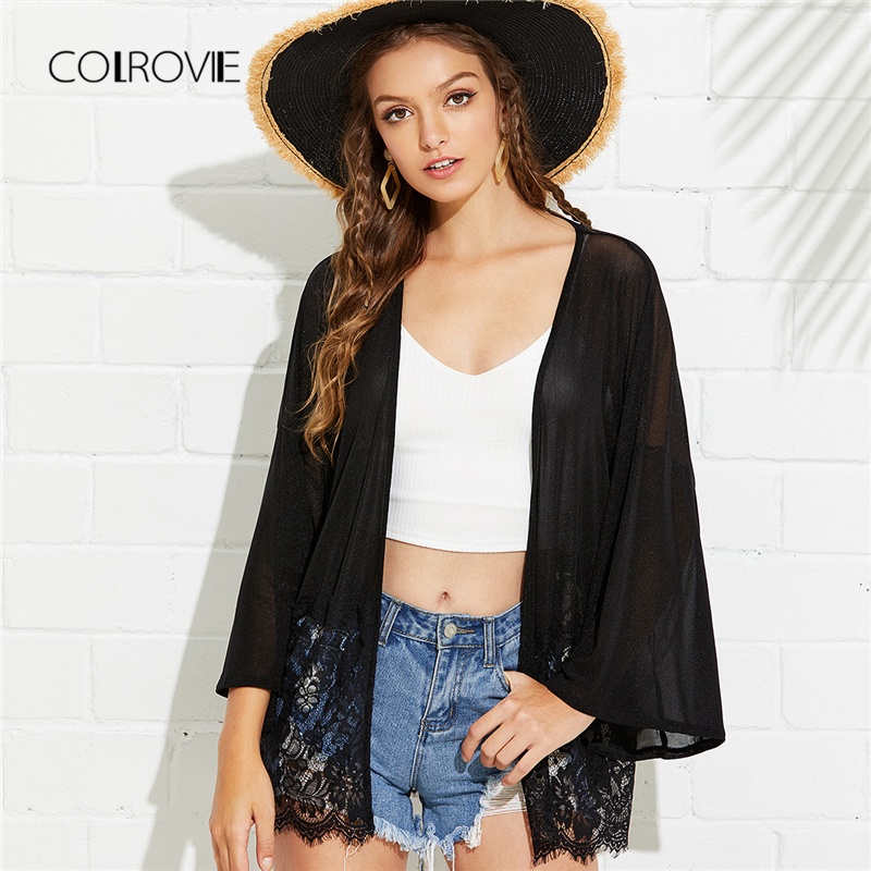 COLROVIE Lace Trim Glitter Kimono Cardigan 2018 New Black Mesh Sheer Summer  Kimono Robe Vacational Floral Beach Women Kimono-in Blouses   Shirts from  ... 24d4a5655c69