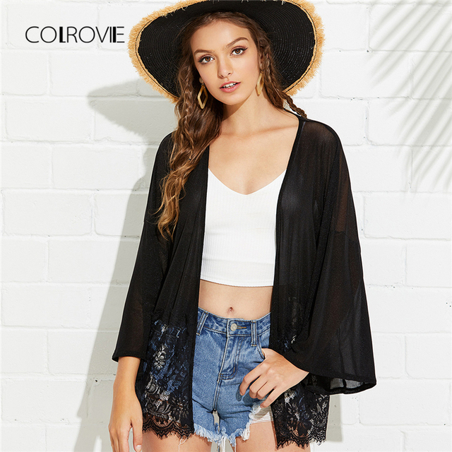 5f9cf38a82 COLROVIE Lace Trim Glitter Kimono Cardigan 2018 New Black Mesh Sheer Summer Kimono  Robe Vacational Floral Beach Women Kimono