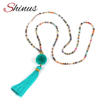 Shinus Colorful Crystal Strand Necklace With Pompon Tassel Bohemian Jewelry Maxi Choker Necklace Boho Collar HN1704