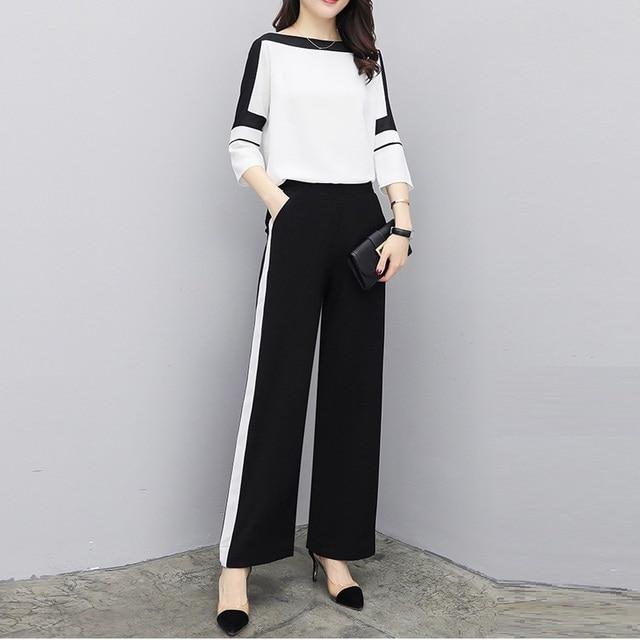 d6a990d2e0b9 Elegante pantalón trajes conjuntos 2019 nueva moda de verano Casual 2 piezas  de mujer Blusa de