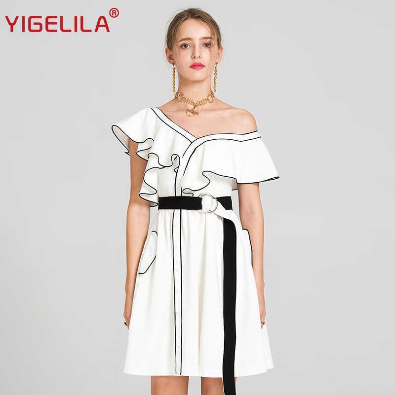 253060ef7f4 YIGELILA 2019 Лето Женская мода сексуальный v-образный вырез бабочка рукав  одно плечо Империя А