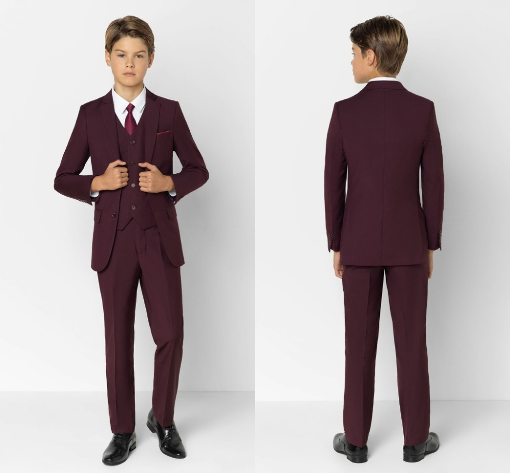 2019 New Arrival Boys' Attire Peaked Lapel Kids Suits Fashion Children Clothing Set 3 Pieces Prom Suits (Jacket+Pants+Tie+Vest)