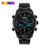 2017 New Fashion Sports Dual Display Men Watches Stainless Steel LED Display Wristwatch Luxury Fashion Band