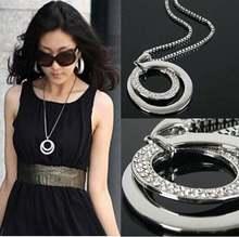 Женское длинное ожерелье Стразы с кристаллами Посеребренная