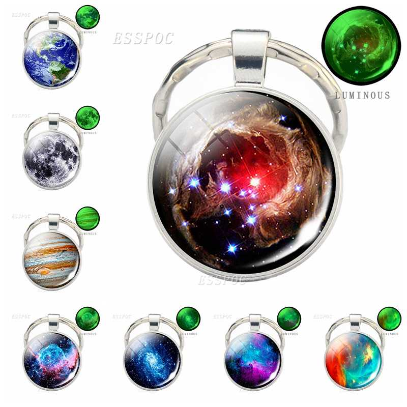 Glow In The Dark Galaxy Keychain Luminous Galaxy Glass Cabochon Keychain Jewelry Fashion Accessories Gift for Men Women