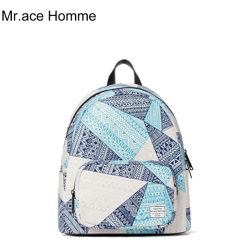 Mr ace Homme casual mini travel backpack female Korean tide lady printing small backpack fresh lovely