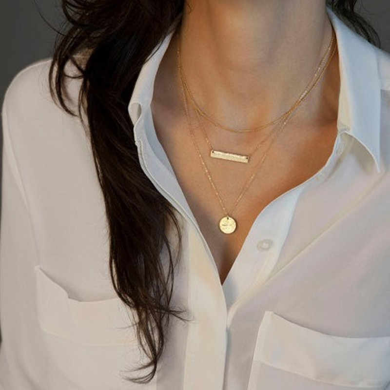 ใหม่ Bohemian Multi-layer สร้อยคอผู้หญิง Silver Crystal คริสตัล Choker สร้อยคอยาวเครื่องประดับ Drop Shipping