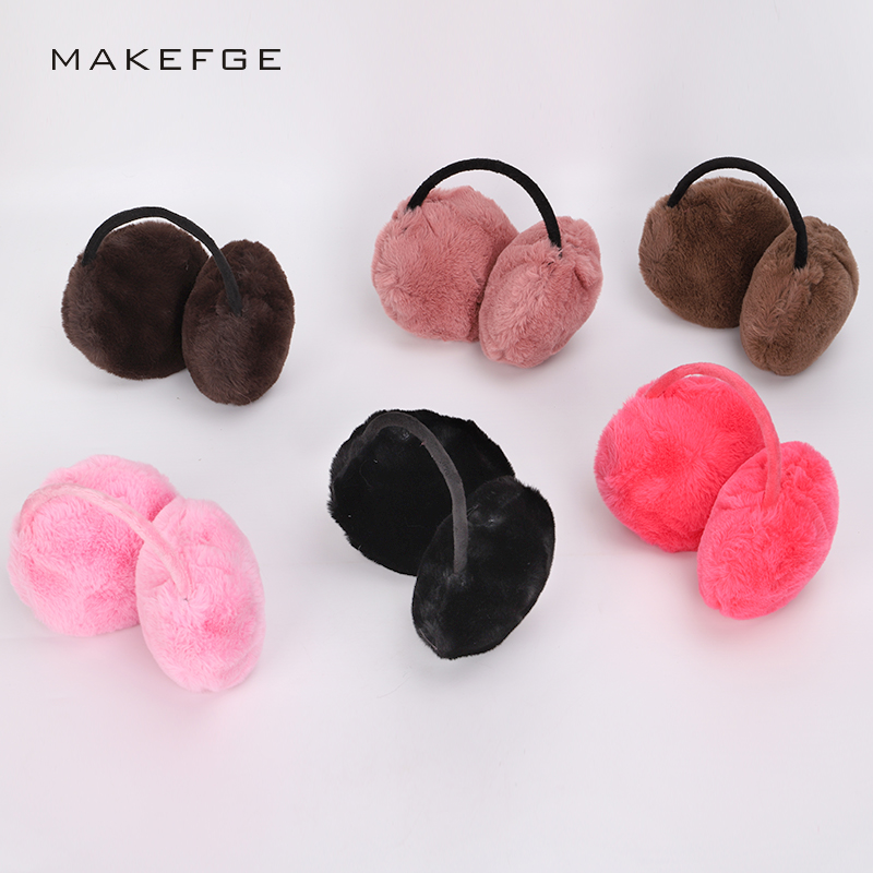 Autumn and winter new men's and women's universal earmuffs solid color fashion warm and comfortable ski fur headphones male
