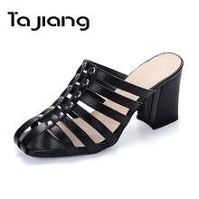 98b380269 Ta Jiang Genuíno Camurça de Couro de Vaca Mulheres Sapatos De Salto Alto  Gladiador Verão Sandálias