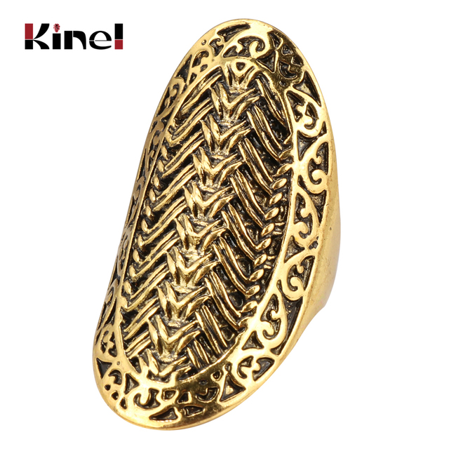 Kinel Charm Big Finger Ring Vintage Look 2018 Fashion Gold Rings For Women Class