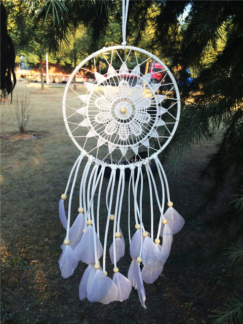 2015 nova moda grande estilo Hot branco Dreamcatcher Wind Chimes indiano pena pendente Dream Catcher presente