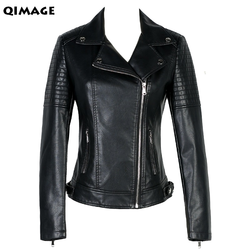 QIMAGE New fashion women Leather jacket 2017 Women Fashion Motorcycle Leather Womens Slim Bicycle Ladies Zipper Coat vince womens leather quilted detail motorcycle jacket