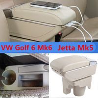 Car Arm Rest Support Storage Box Tray Center Console Armrest For VW Golf 6 Mk6 2008 2013 Jetta Mk5 06 2011 Vento 2009 2010
