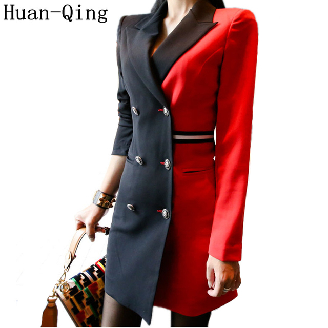 5163b1dada2 Autumn Women s Vintage Patchwork Suit Jacket Double Breasted Blazers Coat  Office Lady Long Sleeve Long Blazers Dress Outerwear
