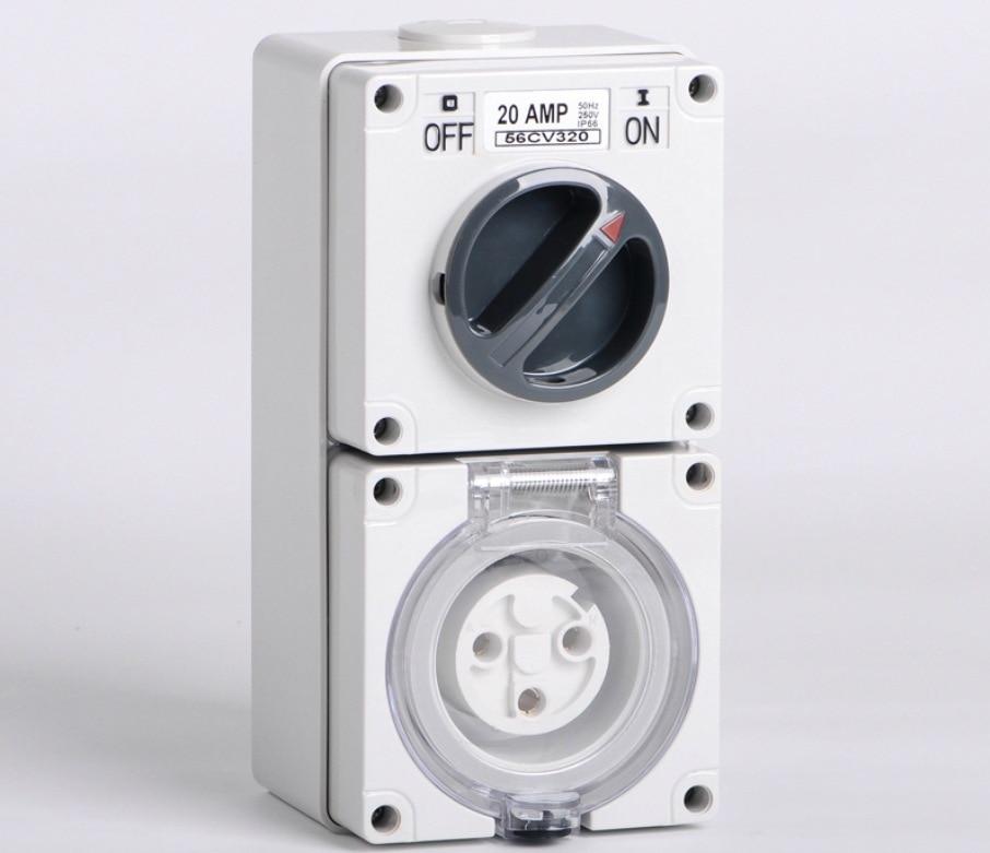 Nouveau SP-56CV320R interrupteur industriel prise étanche à l'eau interrupteur prise 3 trous