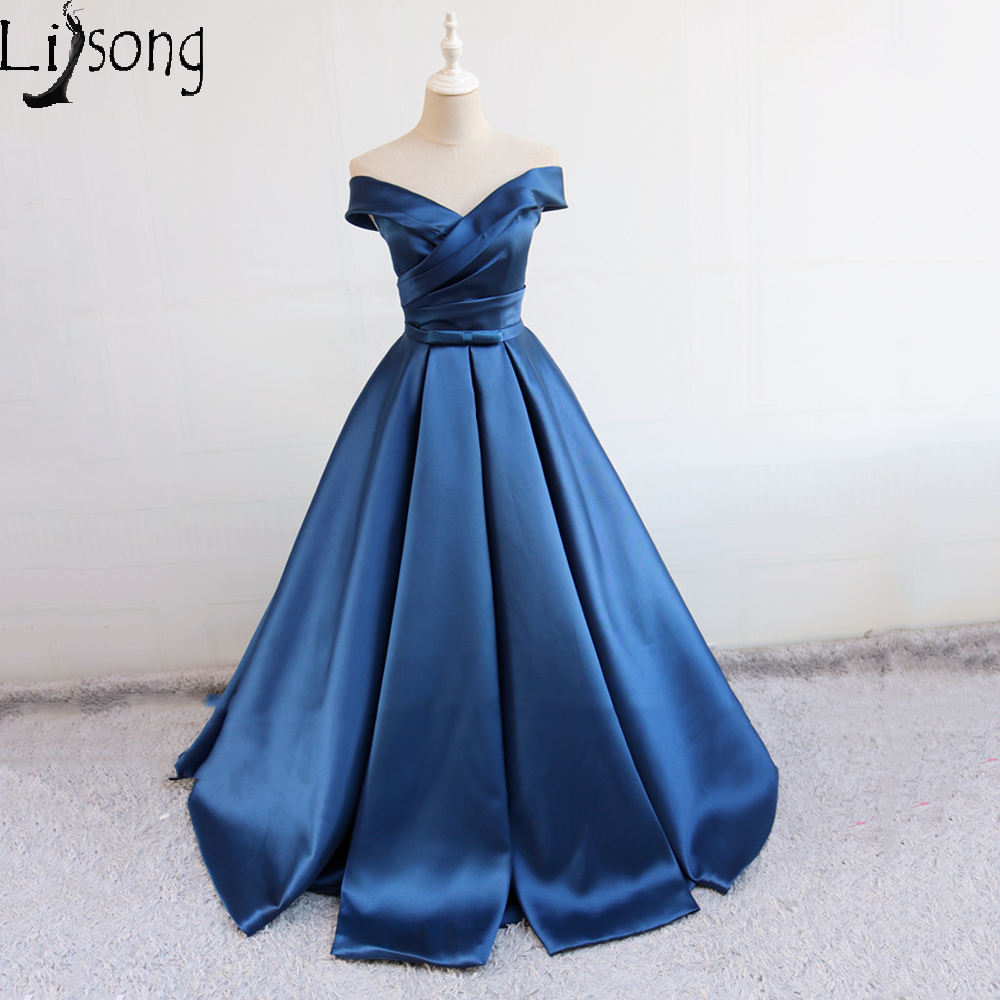 Elegant Navy Blue Women Evening Dresses Long Off Shoulder Formal Maxi Gowns Womens Party Vintage Simple Dress Vestidos Novia