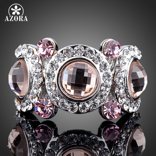 d95839831e34ef AZORA White Gold Color 3pcs Pink Stellux Austrian Crystal Eyes Ring TR0114