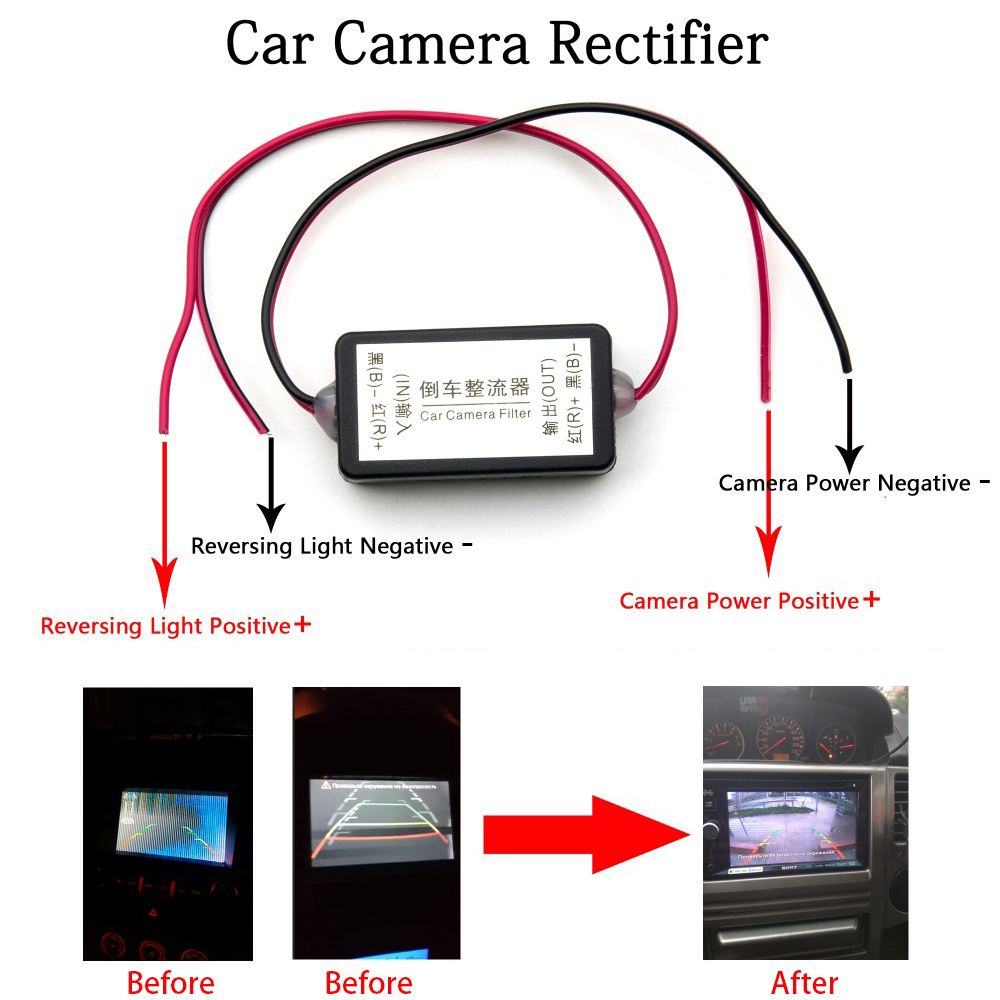 Oterleek Rectifier CAPACITOR-FILTER Connector Backup Camera Rear-View DC 12V For Car