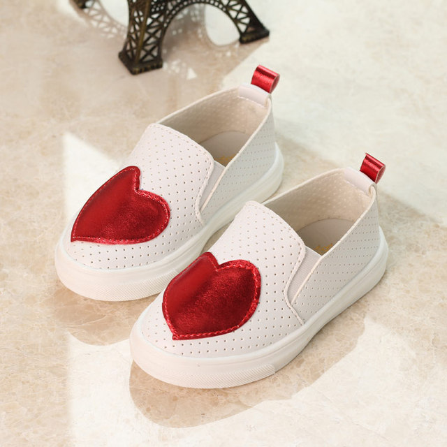 Children Shoes For Girls Love PU Kids Fashion Soft Leather Shoes Baby Boys Sport Casual Shoes Autumn/Spring Cutout Sneaker
