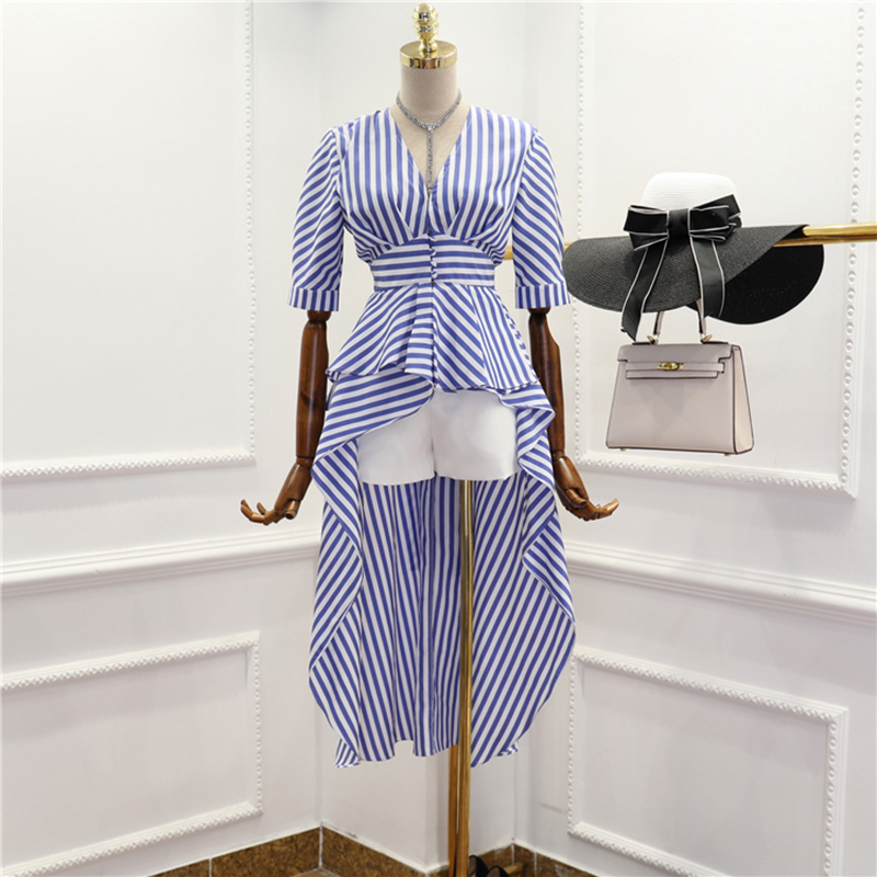 HIGH QUALITY New Fashion 2018 Designer Shirt Womens Half Sleeve Striped Dovetail Blouse Shirt