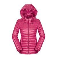 Moda Inverno Mulheres Ultra Leve Para Baixo Jaqueta de algodão Com Capuz Casacos Manga Comprida Quente Brasão Magro Parka Portabl Sólida Feminino Outwear