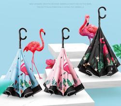 Grote Flamingo Reverse Paraplu Regen Vrouwen High-end Gift C-handvat Paraplu Parasol Uitgerust Met Night Lijn Licht strip