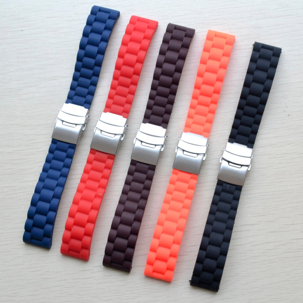 16MM 18mm 20mm 22mm 24mm Universal Watch Band Silicone Rubber Link Bracelet Wrist Strap Light Soft For Men Women Wristwatch