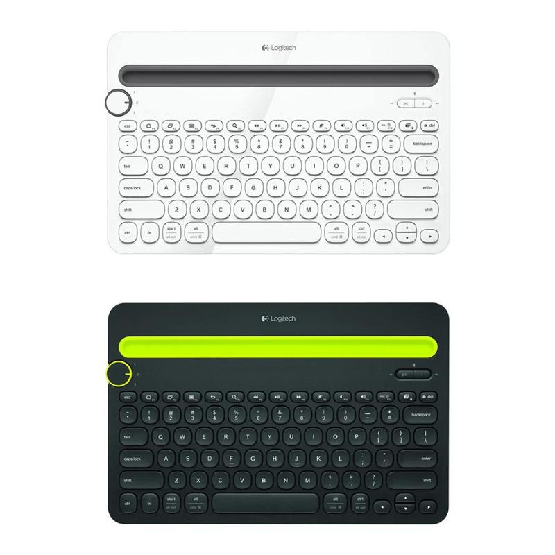 Logitech K480 Multi-Device Bluetooth Keyboard Portable Phone Pad Holder Mini Keyboard for Windows MacOS iOS Android Phone Pads image