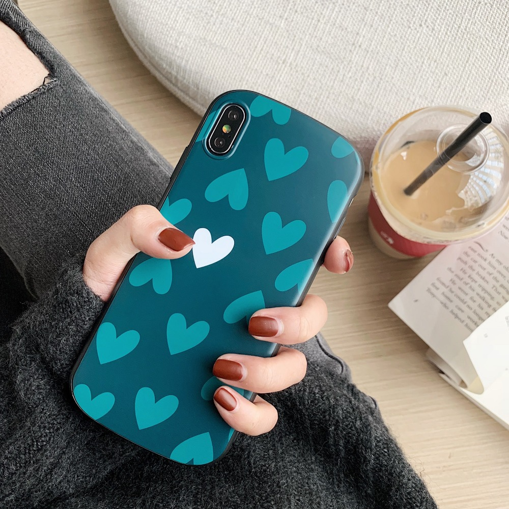 Fashion Arc Phone Case For Iphone 6splus 8plus XS 7P XSMAX Love TPT Soft Silicone Shockproof Case Full Cover For xr Good touch in Fitted Cases from Cellphones Telecommunications