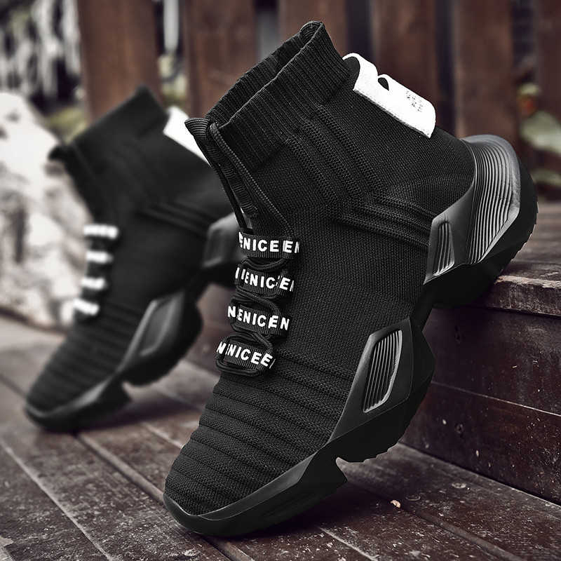 VSIOVRY Spring Autumn Fashion Socks Sneakers Men Shoes Chunky Dad Shoes Men Knit Breathable Walking Sneakers No-Slip Krasovki
