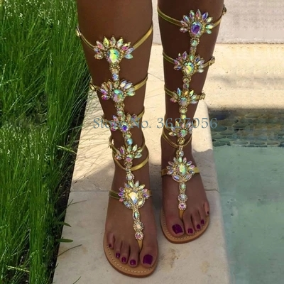 Bling Bling Crystal Flower Hollow Out Patent Leather Flat Flip Ankle Sandals Glittering Rhinestone Summer Beach Party Shoes ladies girls glittering rhinestone summer sandals shoes party casual women thin heels sandals pointed bling bling crystal shoes