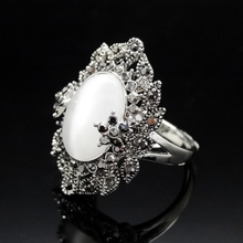 Big opal rings for women antique silver color zinc alloy engagement wedding party female ring vintage fashion jewelry anillos
