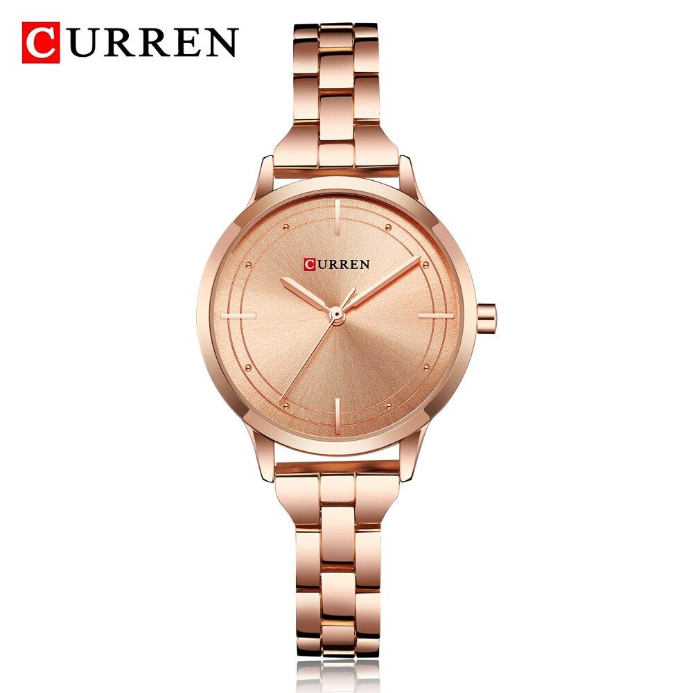 0c37bff30bb CURREN Black Watch Mulheres Relógios de Quartzo Analógico Mulheres Relógio  de Pulso de Aço Inoxidável À