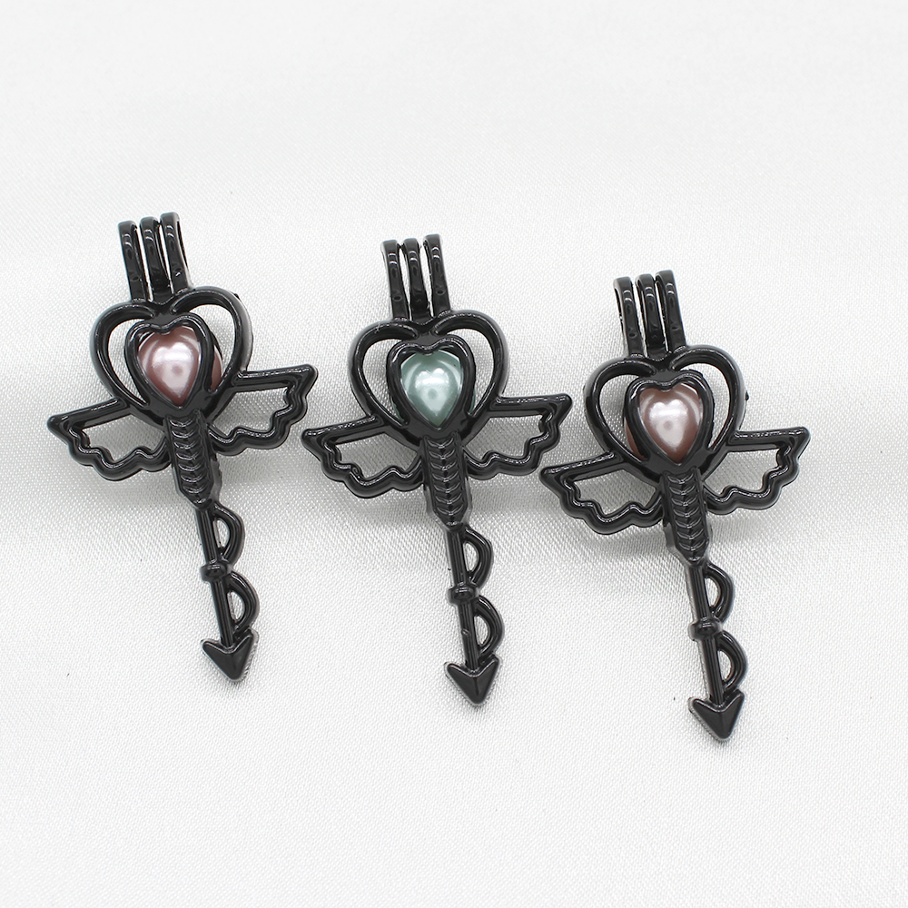 5x Black Pearl Cage Unicorn Pendant Fit DIY Essential Oil Diffueser Necklace