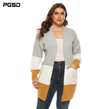 PGSD Big-size women clothes autumn winter casual Thickened color stitching large pocket Long sleeve knitted sweater cardigan 3XL