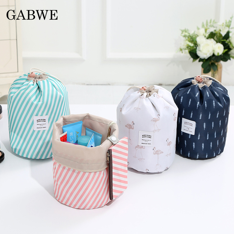 GABWE Toilet Bag Fashion Round Women Makeup Bag Flamingo Travel Make Up Organizer Cosmetic Bag Female Storage Toiletry Kit Case