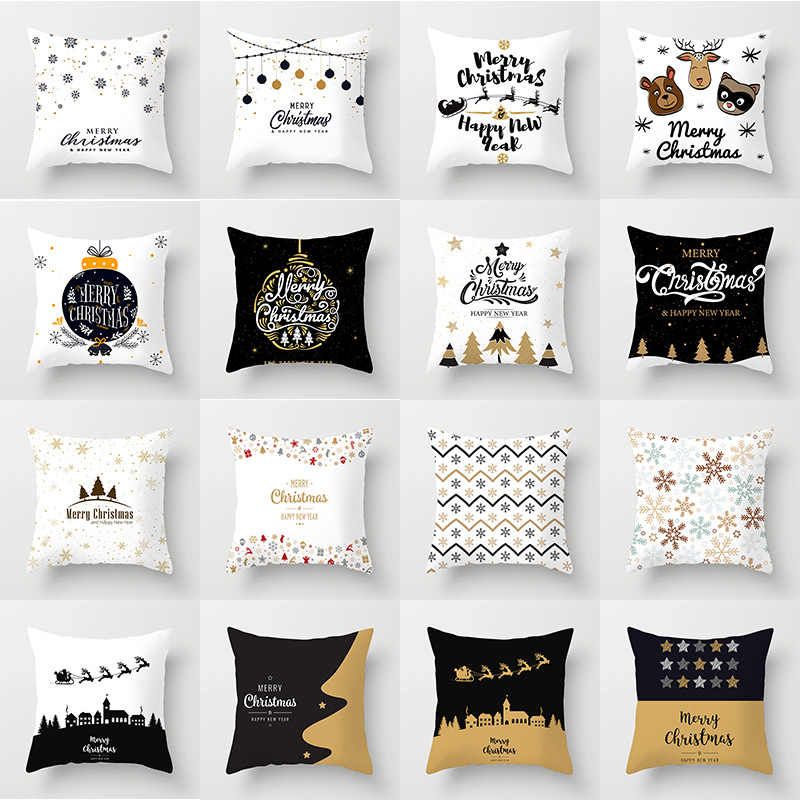 Merry Christmas Cushion Cover Happy New Year Soft Pillow Cases Christmas Decorations for Home Bedroom Living Room Decor Sofa Car