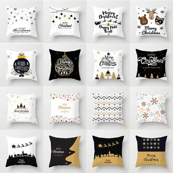 Merry Christmas Cushion Cover Happy New Year Soft Pillow Cases Christmas Decorations for Home Bedroom Living Room Decor Sofa Car hot sale merry christmas pillow case square pillow cases new year cartoon pillow covers size 45 45cm