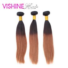 Vishine New Arrival Ombre Brazilian Virgin Hair Straight 4Pcs Hair Weave Bundles Ombre Brazilian Hair Extensions Ms Lula Hair