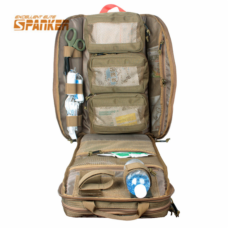 SPANKER Tactical MOLLE Medical Backpack Military First Aid Kit Backpack Emergency Assault Combat Rucksack Hiking Hunting Bags kitcox70427fao4001 value kit first aid only inc alcohol cleansing pads fao4001 and glad forceflex tall kitchen drawstring bags cox70427