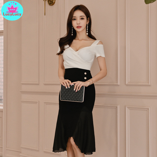 2019 summer new ladies temperament V-neck high waist fake two irregular dresses Knee-Length  Zippers  Patchwork  Sheath